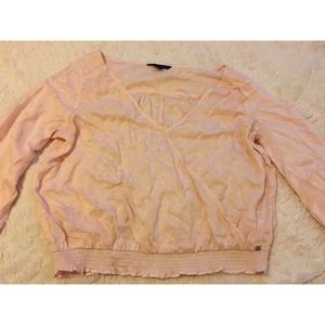 Pink embroidered top from American Eagle